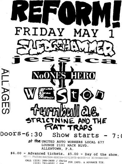 Sledgehammer-Jessica-No One's Hero-Weston-Turnbull AC-Strictnine & The Rat Traps @ UAWL #677 Allentown PA 5-1-92