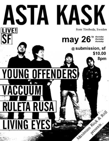 Asta Kask-Young Offenders-Vaccuum-Ruleta Rusa-Living Eyes @ Submission San Francisco CA 5-26-11