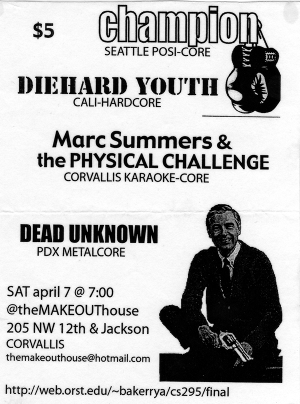 Champion-Diehard Youth-Marc Summers & The Physical Challenge-Dead Unknown @ The Makeout House Corvallis OR 4-7-01