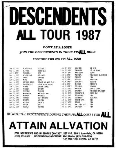 Descendents All Tour 1987