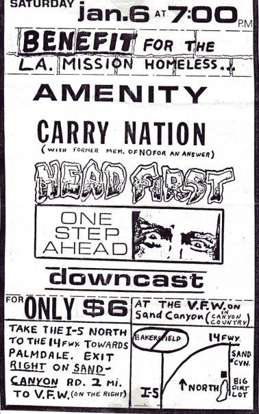 Amenity-Carry Nation-Headfirst-One Step Ahead-Downcast @ VFW Sand Canyon CA 1-6-90
