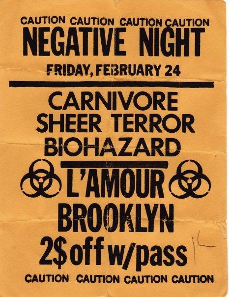 Carnivore-Sheer Terror-Biohazard @ Lamours Brooklyn NY 2-24-90