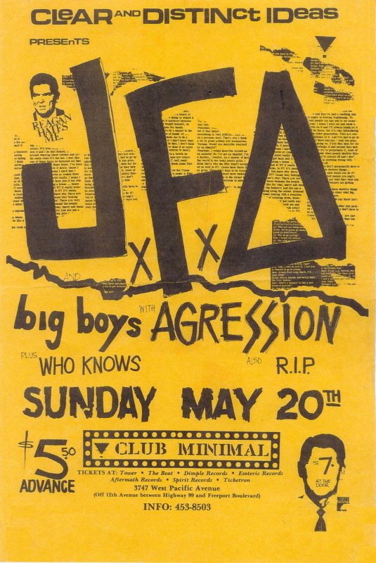 JFA-Big Boys-Aggression-Who Knows-R.I.P. @ Club Minimal Sacramento CA 5-20-84