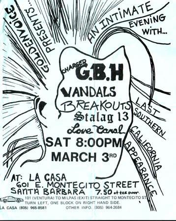 GBH-The Vandals-Breakouts-Stalag 13-Love Canal @ La Casa Santa Barbara CA 3-3-84