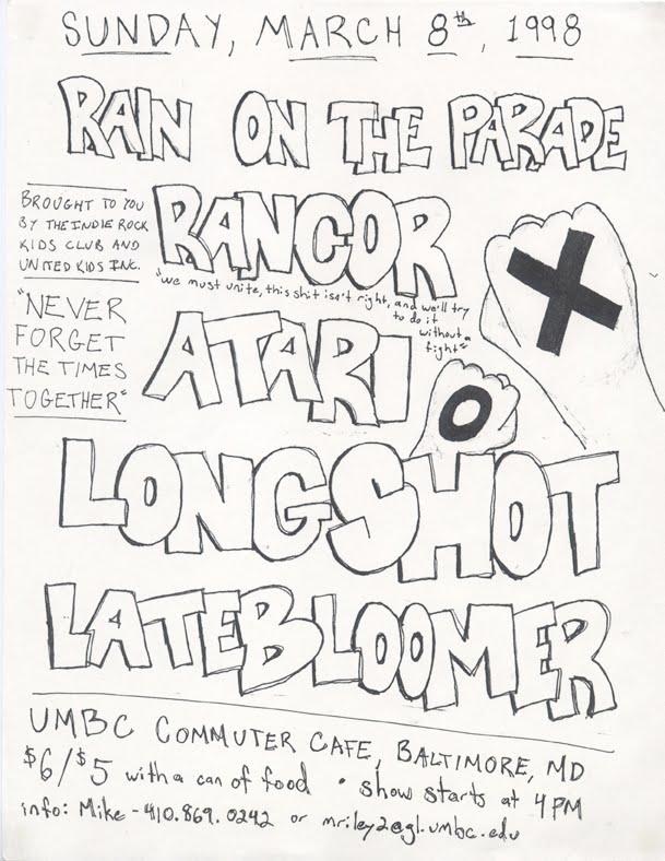 Rain On The Parade-Rancor-Atari-Longshot-Late Bloomer @ UMBC Commuter Cafe Baltimore MD 3-8-98