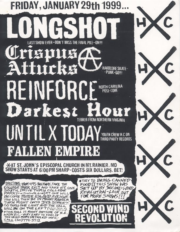 Longshot-Crispus Attucks-Reinforce-Darkest Hour-Until Today-Fallen Empire @ St. John's Episcopal Church Mt. Rainer MD 1-29-99