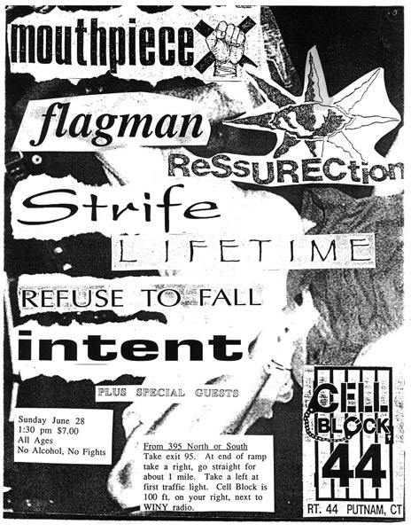 Mouthpiece-Flagman-Ressurection-Strife-Lifetime-Refuse To Fall-Intent @ Cell Block 44 Putnam CT 6-28-92