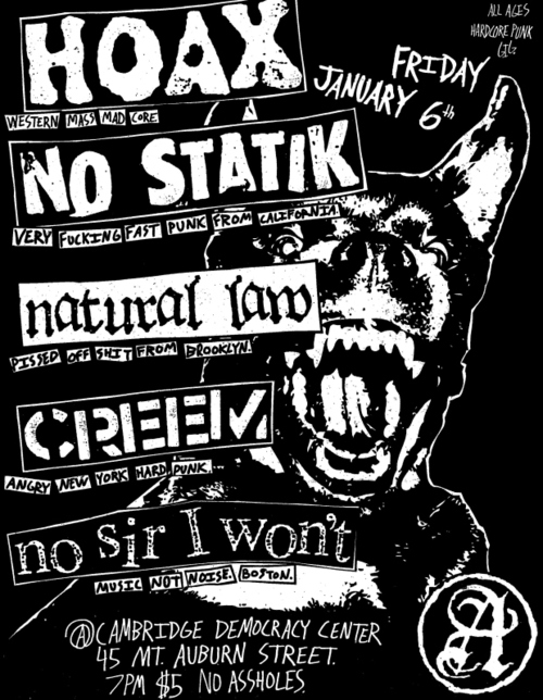 Hoax-No Statik-Natural Law-Creem-No Sir I Won't @ Democracy Center Cambridge MA 1-6-12