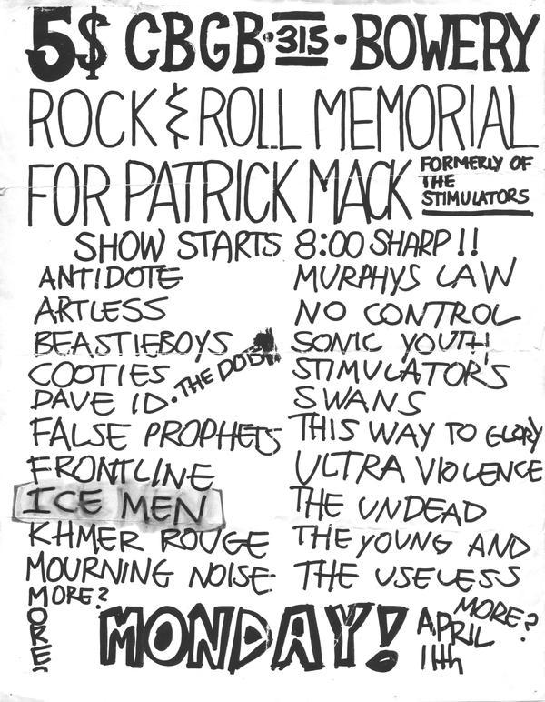 Patrick Mack Memorial Huge NYHC Show