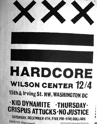 Kid Dynamite-Crispus Attucks-Thursday-No Justice @ Wilson Center Washington DC 12-4-99