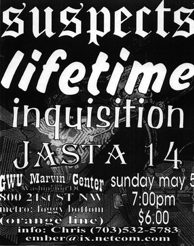 The Suspects-Lifetime-Inquisition-Jasta 14 @ GWU Marvin Center Washington DC 5-5-96