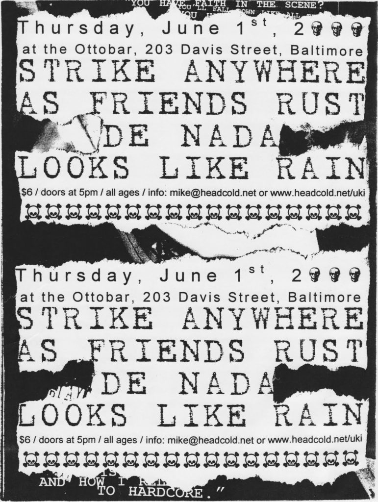 Strike Anywhere-As Friends Rust-De Nada-Looks Like Rain @ Ottobar Baltimore MD 6-1-00