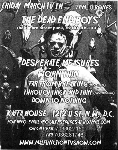 The Dead End Boys-Desperate Measures-Worn Thin-Far From Breaking-Through Thick & Thin-Down To Nothing @ Kaffa House Washington DC 3-15-02