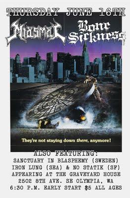 Miasmal-Bone Sickness-Sanctuary In Blasphemy-Iron Lung-No Statik @ Graveyard House Olympia WA 7-16-11