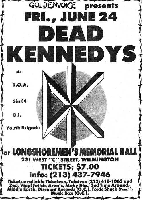 Dead Kennedys-DOA-Sin 34-DI-Youth Brigade @ Longshoremen's Memorial Hall Wilmington CA 6-24-83