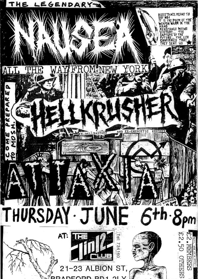Nausea-Hell Krusher-Attaxia @ 1 In 12 Club Bradford England 6-6-91