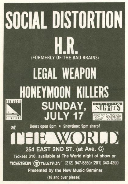 Social Distortion-HR-Legal Weapon-Honeymoon Killers @ The World New York City NY 7-17-88