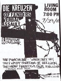 Die Kreuzen-Offenders-Verbal Assault-Positive Outlook @ Living Room Providence RI 7-29-85