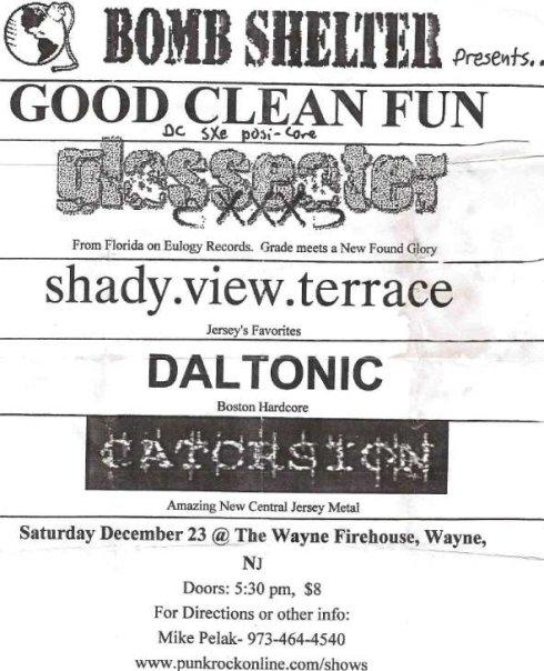 Good Clean Fun-Glasseater-Shady View Terrace-Daltonic-Catorsion @ Firehouse Wayne NJ 12-23-00