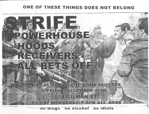 Strife-Powerhouse-Hoods-Receivers-All Bets Off @ Gilman St. Berkeley CA 12-19-97