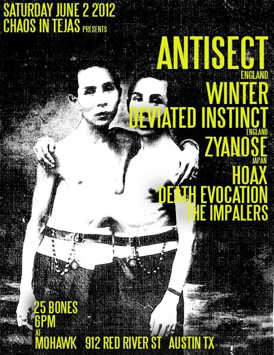 Antisect-Winter-Deviated Instinct-Zyanose-Hoax-Death Evocation-The Impalers @ Mohawk Austin TX 6-2-12