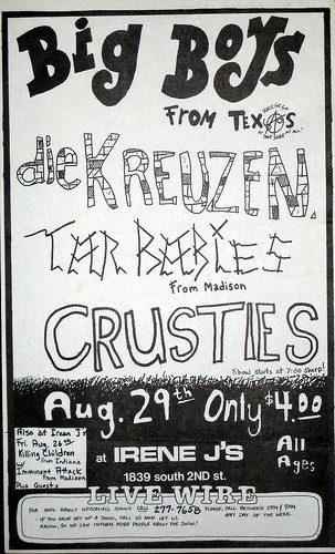 Big Boys-Die Kreuzen-Tar Babies-Crusties @ Irene J's Milwaukee WI 8-29-83