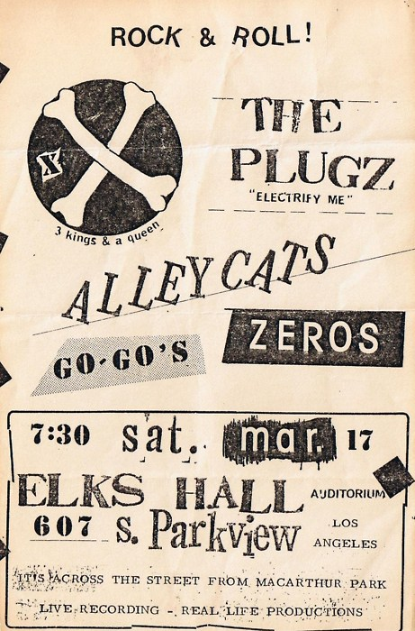 The Plugz-Alleycats-Zeros-The Go Gos @ Elks Hall Los Angeles CA 3-17-79
