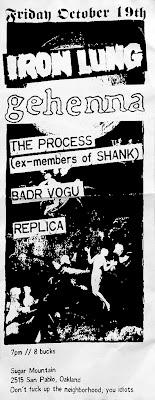 Iron Lung-Gehenna-The Process-Badr Cogu-Replica @ Sugar Mountain Oakland CA 10-19-12