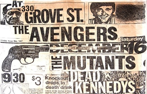 The Avengers-The Mutants-Dead Kennedys @ Grove St. San Francisco CA 12-16-78