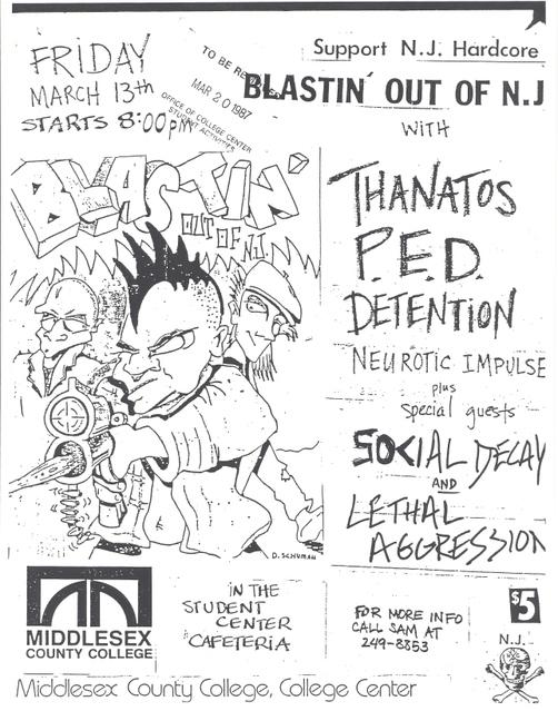 Thanatos-P.E.D.-Detention-Neurotic Impulse-Social Decay-Lethal Aggression @ Middlesex County College Edison NJ 3-13-87