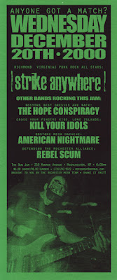 Strike Anywhere-The Hope Conspiracy-Kill Your Idols-American Nightmare-Rebel Scum @ Rochester NY 12-20-00