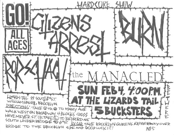 Go!-Citizens Arrest-Burn-Rorschach-The Manacled @ ABC No Rio New York City NY 2-4-90