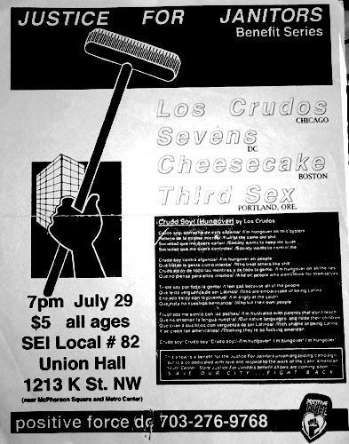 Los Crudos-Sevens-Cheesecake-Third Sex @ SEI Local #82 Union Hall Washington DC 7-29-95