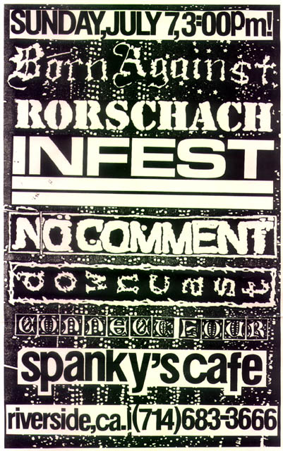 Born Against-Rorschach-Infest-No Comment-Downcast-Connect Four @ Spanky's Cafe Riverside CA 7-7-91