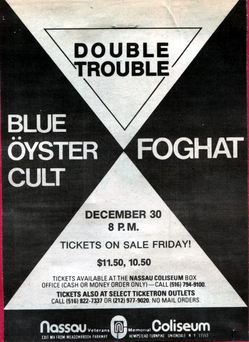 Double Trouble-Blue Oyster Cult-Foghat @ Nassau Coliseum Long Island NY 12-30-77