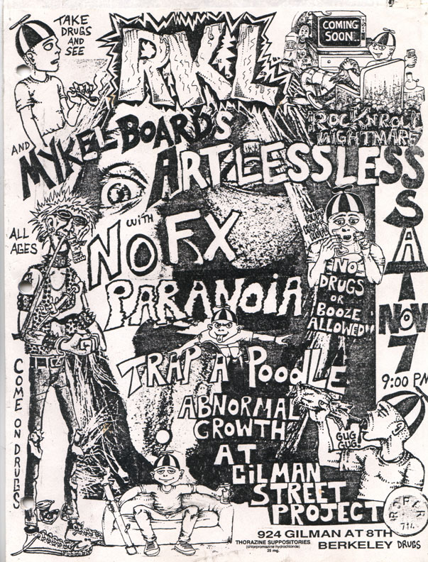 RKL-Artlessless-Nofx-Paranoia-Trap A Poodle-Abnormal Growth @ Gilman St. Berkeley CA 11-7-87