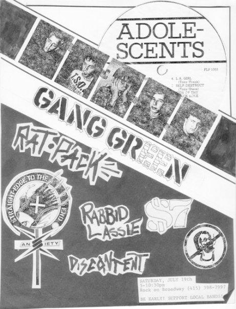 Adolescents-Gang Green-Rat Pack-Rabbid Lassie-Discontent @ On Broadway San Francisco CA 7-19-86
