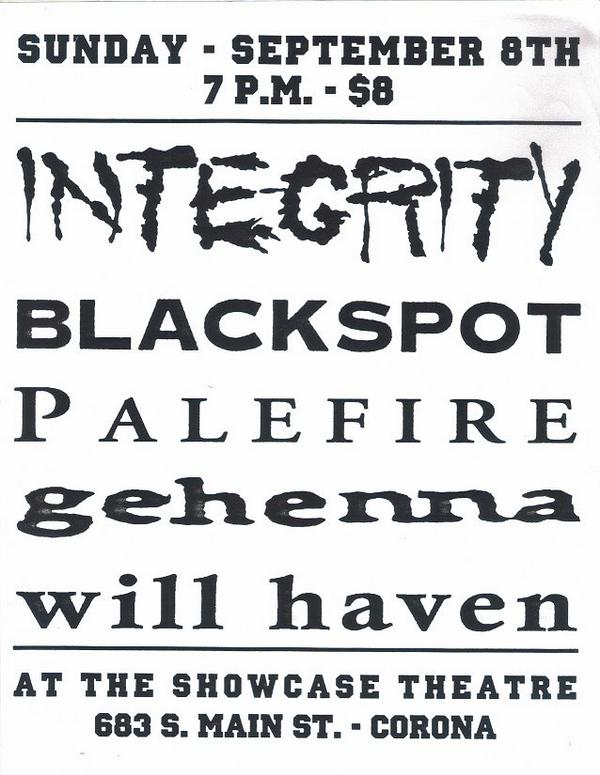 Integrity-Blackspot-Palefire-Gehenna-Will Haven @ Showcase Theater Corona CA 9-8-96