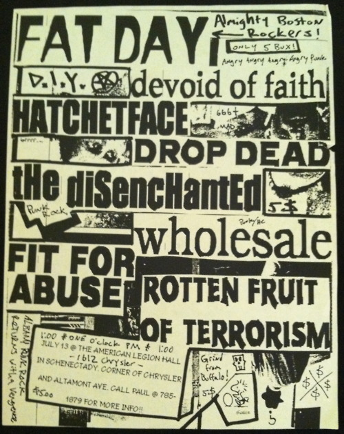 Devoid Of Faith-Hatchetface-DropDead-The Disenchanted-Wholesale-Fit For Abuse-Rotten Fruit Of Terrorism @ American Legion Hall Schenectady NY 7-13-97