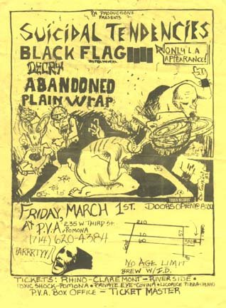 Suicidal Tendencies-Black Flag-Decry-Abandoned-Plain Wrap @ PVA Pomona CA 3-1-85