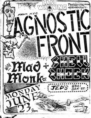 Agnostic Front-Shell Shock-Mad Monk @ New Orleans LA 6-23-86