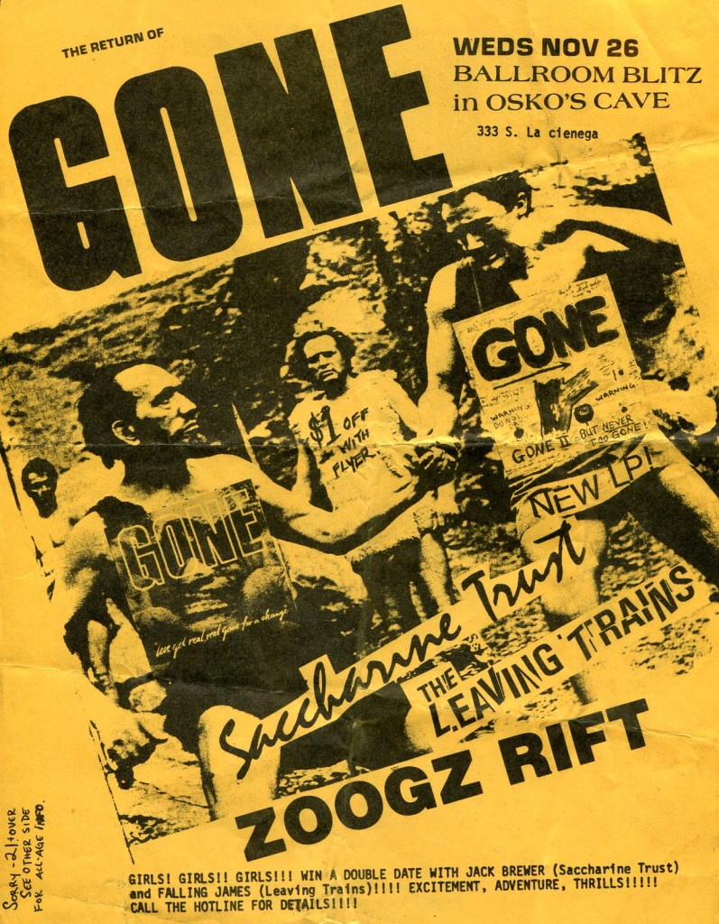 Gone-Saccharine Trust-The Leaving Trains-Zoogz Rift @ Los Angeles CA 11-26-86