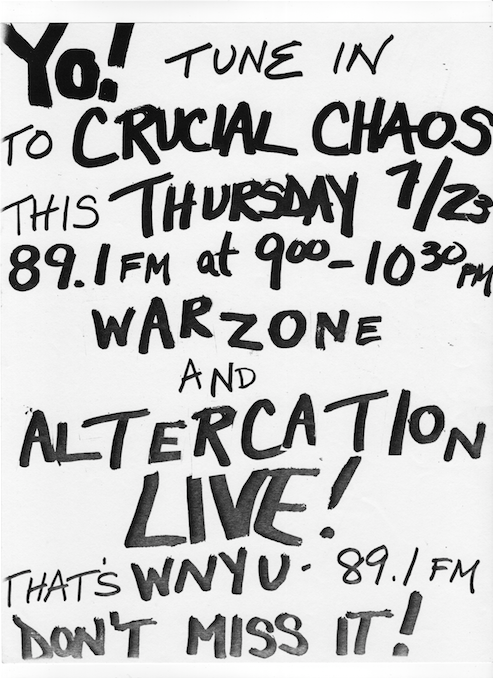 War Zone & Altercation Live On WNYU