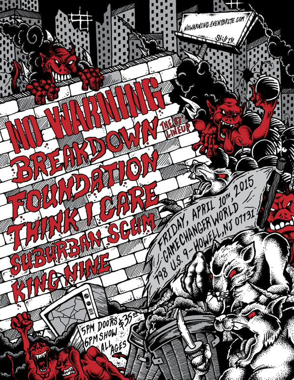 No Warning-Breakdown-Foundation-Think I Care-Suburban Scum-King Nine @ Howell NJ 4-10-15