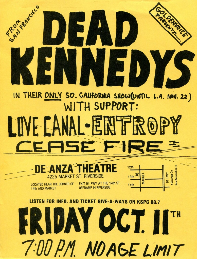 Dead Kennedys-Love Canal-Entropy-Cease Fire @ Riverside CA 10-11-85