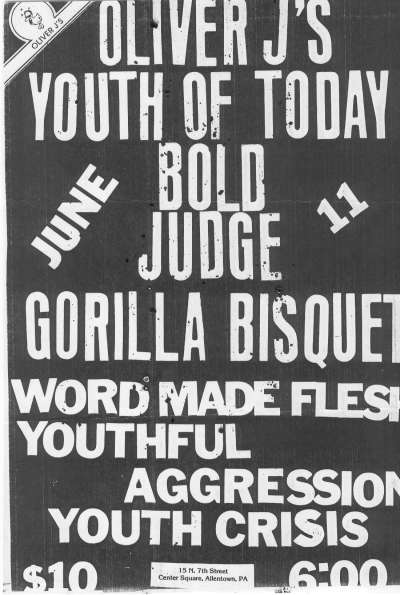 Youth Of Today-Bold-Judge-Gorilla Biscuits-Word Made Flesh-Youthful Aggression-Youth Crisis @ Allentown PA 6-11-88