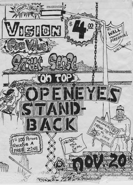 Vision-Face Value-Street Sense-On Top-Open Eyes-Stand Back @ Wall NJ 11-20-89