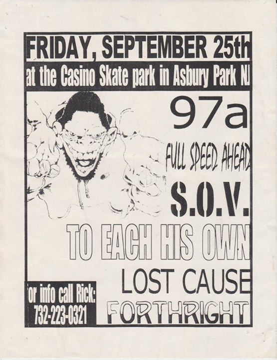 97a-Full Speed Ahead-SOV-To Each His Own-Lost Cause-Forthright @ Asbury Park NJ 9-25-98