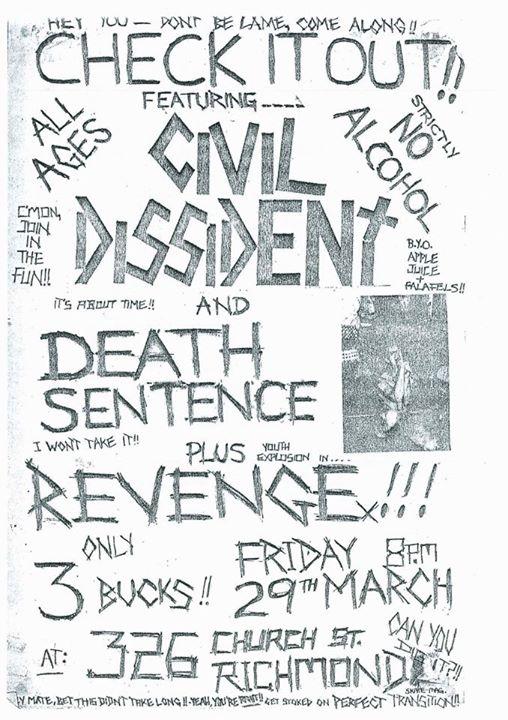 Civil Dissident-Death Sentence-Revenge @ Victoria Australia 3-29-85