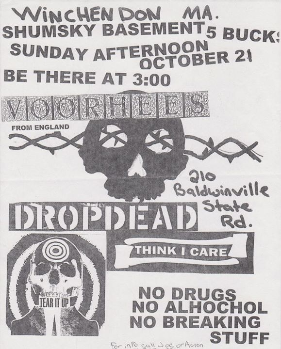 Voorhees-DropDead-Think I Care-Tear It Up @ Winchendon MA 10-21-01